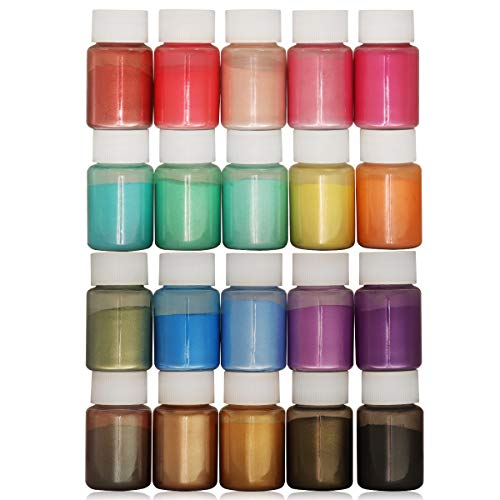 Mica Powder - 20 Colors 10g/0.35oz - Epoxy Resin Pigment Powder for Slime, Nail Polish, Adhesive Pigments, Soap Making, Epoxy Resin, Paint