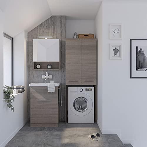 Dafne Italian Design Mueble de lavandería para puerta de lavadora de roble oscuro con lavabo incorporado. Tamaño de la base: 62 x 53 cm. Columna de 70 x 50 cm.