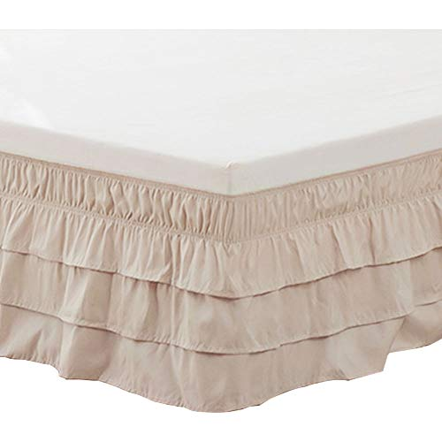 XIAKE Bed Skirt Dust Ruffles Camel Full Size 15 Inches Drop Daybed Bedskirt Elastic Easy Fit Wrap Around Premium Microfiber Polyester Wrinkle and Fade Resistant