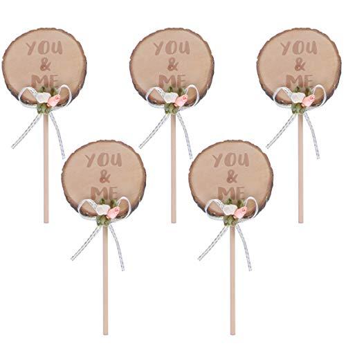 PRETYZOOM 5 Stks Houten Cupcake Topper Jij en Ik Cake Topper Fruit Dessert Cake Picks Voor Verjaardag Baby Shower Bruiloft Decoratie (Kaki)