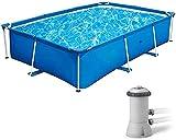 Easy Set - Piscina, Piscina, piscina de verano, piscina sobre el suelo, piscina, piscina de marco de 8,5 'x 5,2' x 26 'con sistema de bomba de filtro, conjunto de piscinas de rectángulo al aire libre