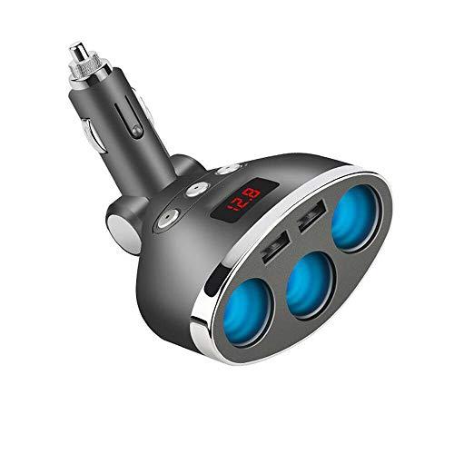 Riloer Cargador de coche de 12 V-24 V, 3 vías, adaptador de alimentación