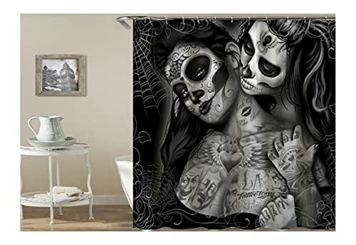KnSam Duschvorhang Anti-Schimmel Wasserdicht Gardinen an Badewanne Bad Vorhang für Badezimmer Gothic Totenkopf Tattoo Frauen 100prozent PEVA inkl. 12 Duschvorhangringen 150 x 200 cm