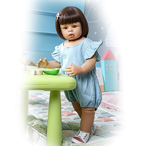 Big Reborn Toddler Girl Dolls 28 inches Look Realistic Hard Vinyl Full Body Standing Reborn Child Washable Toys for Toddlers Adults Collectibles