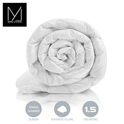 MHG Living Anti Allergenic Summer seasons Cool Duvet, Light Microfibre, Single Double King SuperKing, Wool Duvets alternative (1.5 Tog, Single)