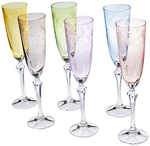 Bohemia Kristall Gläser - Floral - 6er Set - Original (Sektglas 6 x 200 ml)