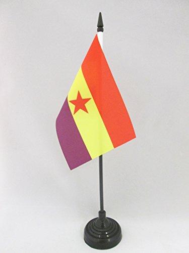 AZ FLAG Bandera de Mesa ESPAÑA Republicana Estrella ROJA 15x10cm - BANDERINA de DESPACHO DE LA Republica ESPAÑOLA 10 x 15 cm