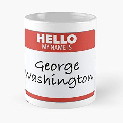 Hello My Name Is George Washington Tag Classic Mug - 11,15 Oz.