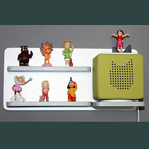Regal für Toniebox und Figuren Tonie Tonies ® für Kinder - Kinderregal für Audio Musikbox Figuren - weiß-grau - Kinderzimmer