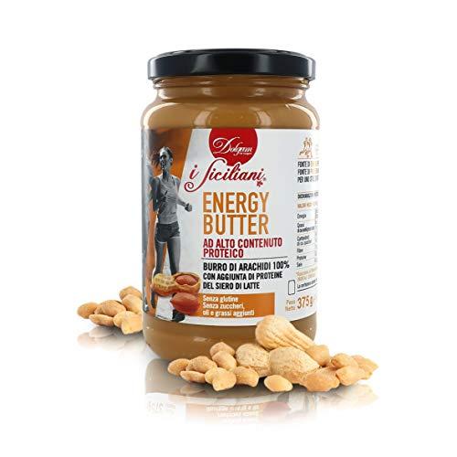 Dolgam Mantequilla de Manì Energy Butter con Alto Contenido Proteico, Producida en Italia, Frasco de 375g