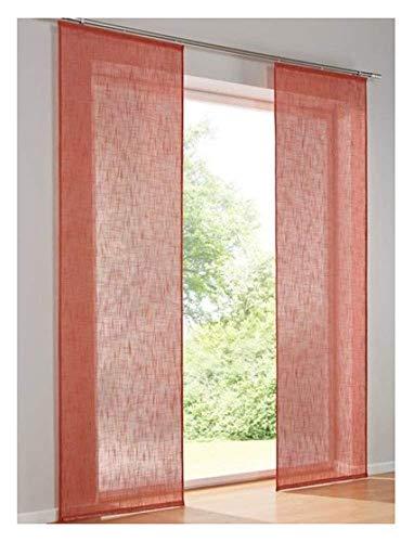 heine home Lot de 2 panneaux japonais avec velours et bande Velcro Rouge uni Largeur 60 cm Taille 145/60 cm