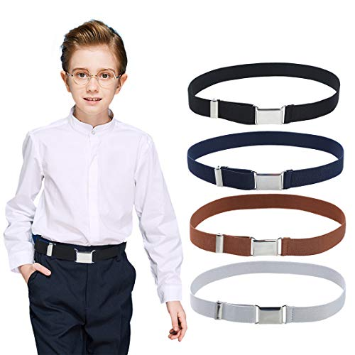 4PCS Kids Boys Elastic Buckle Belt - Adjustable Belt with Silver Square Buckle(Navy Blue/Brown/Black/Grey)