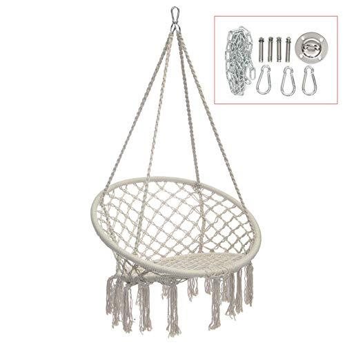Lshbwsoif Niños Swing Algodón Hamaca Silla Confort Beige Swing Hang Seat Interior Exterior Jardín Viaje Carga máxima 120kg Para Interior Exterior Diversión