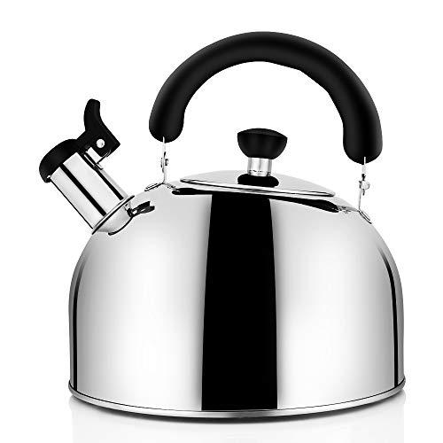 Tea Kettle for Stovetop Whistling Tea Pot, Stainless Steel Teakettle Tea Pots for Stove Top, 3.2QT(3-Liter) Large Capacity with Capsule Base by ECPURCHASE