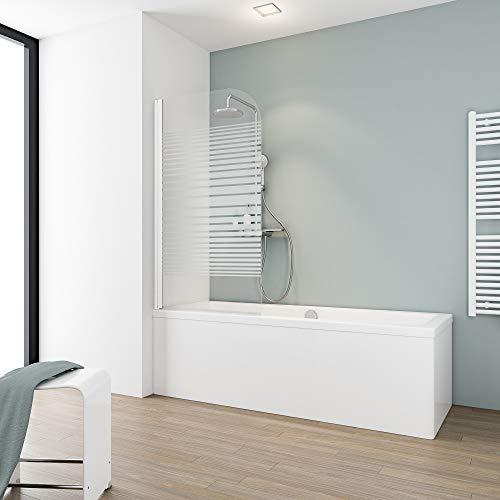 Schulte D1650-F 04 72 Badewannenabtrennung, schwenkbar, Klappwand, 1 Klappklappklappe, Glas, Dekor Streifen, 80 x 140 cm