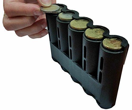 CLAIRE-FONCET Dispensador de monedas para las 5 principales piezas de Euro, distribuidor de moneda, ideal para Camarero, Camarera, Vendedores, Taxista, Vendedores (DISPENSADOR RECTO)