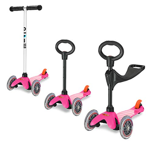 Micro Scooter 3 In 1 Pink Mini Classic 3 Wheeled Adjustable Ride On With Seat And O Handle Bar For Girls Boys Kids Child