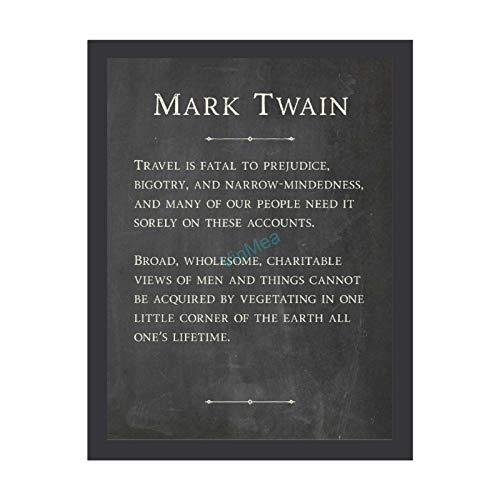 VinMea Framed Prints Mark Twain - Travel is Fatal 3 Wooden Framed Artwork Quote Poster Art Print, 8 x 12 Inches