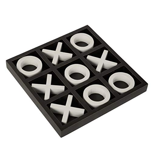 FUIN Wooden Tic Tac Toe Decorative Travel Board Game for Coffee Table, 14' x 14', Black and White