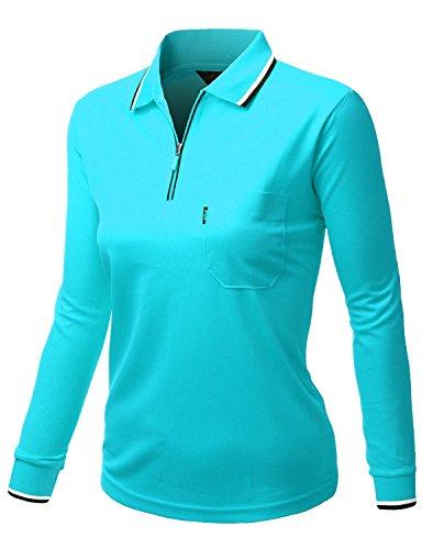 Xpril Damen Basic Style Front Reißverschluss Kragen Langarm Polopullover Sky Blue, Größe 3XL