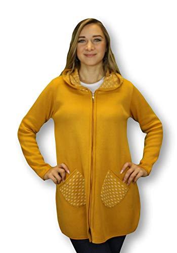 Kimmy Jeans Damen Strickjacke Kellerfalte Jacke Curry (Curry, XL)