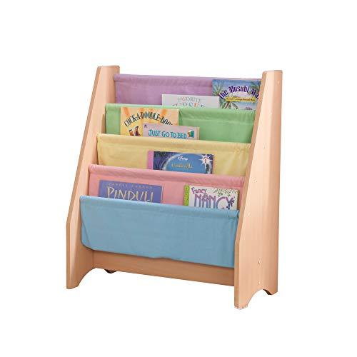 KidKraft 14225 Libreria in Legno e Tessuto, Mobili per Camera da Letto e Sala Giochi per Bambini con 4 Tasche Portaoggetti, Colori Pastello e Naturale