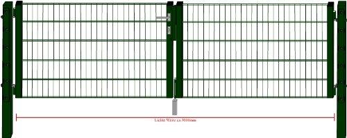 Camas Ben Light Drahtgittertor Einfahrtstor 1430mm grün 3m breit Gartentor Toranlage