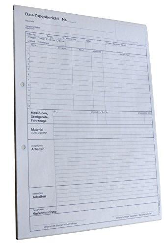 5x Bau-Tagesbericht, Baubericht DIN A4, 2-fach selbstdurchschreibend, 2x50 Blatt weiß/gelb - gelocht (22235)
