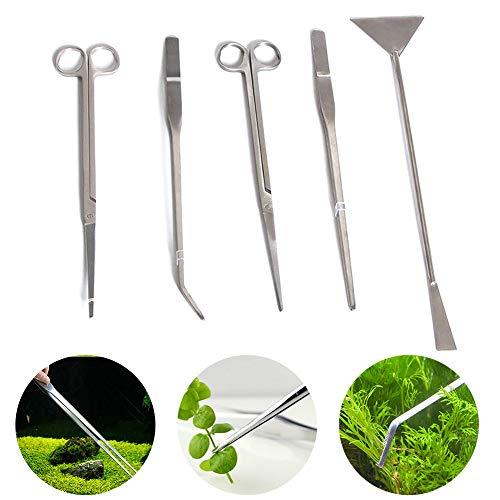 5Pcs Aquarium-Pinzetten-Set, Gras-Set für lebende Pflanzen, langes, gebogenes und gerades Aquarium-Fütterungs-Pinzetten-Scheren-Schaufel-Wartungswerkzeug-Set aus Edelstahl