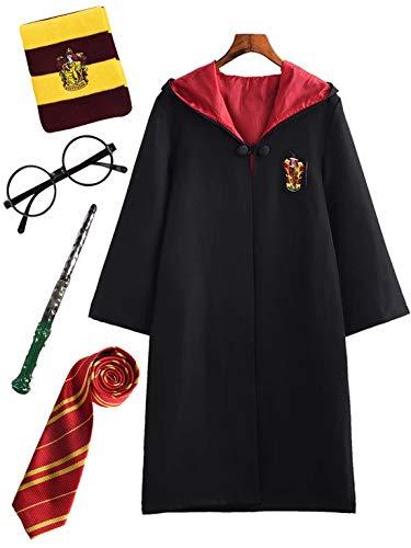 Monissy Kinder Erwachsene Harry Potter Cosplay Kostüm Hermine Umhang Schwarze Robe Karneval Kostüm Set Zauberstab Krawatte Schal Brille Fasching Schuluniform Geburtstagsgeschenk