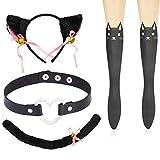 Haichen Cat Cosplay Kostüm Anime Gothic Lolita Zubehör Set - Kätzchen Schwanz Ohren Herz Goth Halsreif Kragen Niedliche Socken (A)