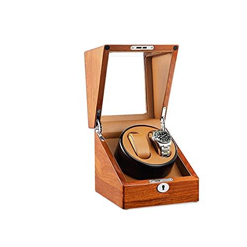 ZCXBHD Enrollador de reloj para 2 relojes automáticos, motor silencioso en piel negra, carcasa de madera, acabado piano, caja de almacenamiento para enrollar con suaves almohadas de reloj flexibles