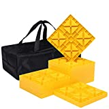 Homeon Wheels Camper Leveling Blocks, Ideal for Leveling Single and Dual Wheels, Heavy Duty Rv Leveling Blocks and Chocks Anti-Slip Pads Design, Camper Levelers 10 Pack with Carrying Bag (WH-102)
