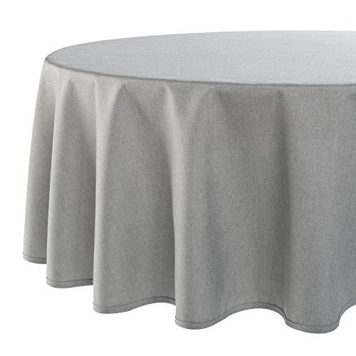Tischdecke Wien, grau, 160 cm rund, Fleckschutz, Tischdecke für das ganze Jahr