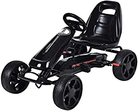Costzon Go Kart, 4 Wheel Powered Ride On Toy, Outdoor Racer Pedal Car with Clutch, Brake, EVA Tires, Adjustable Seat (Black)