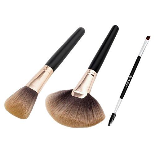 MagiDeal 3pcs Brosse à Maquillage de Visage à Fond de Teint Contour Correcteur avec Pinceau de Cils Anglés de Mascara