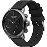 Nordgreen Pioneer Men's Chronograph Watch Scandinavian Gun Metal 42mm with Black Dial and Black Rubber Strap 14006