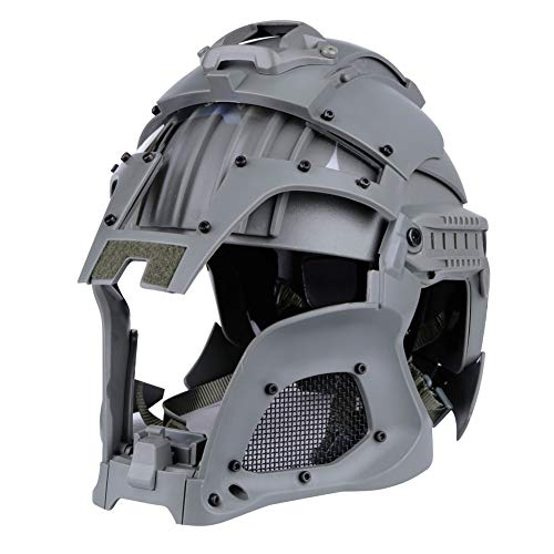 Casco táctico militar Airsoft Paintball PC lente táctico casco cubierta completo casco accesorios CS War-Game Shooting, Gris