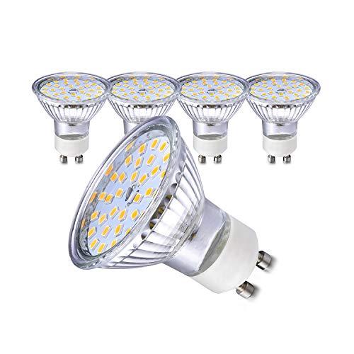 Ampoules LED GU10 5W Remplace 35W 50 W GU10/GU5.3 Ampoule Halogène 450lm Blanc Chaud 2800K AC220V-240V Larges Faisceaux 120°Ampoules LED Spot Lot de 5