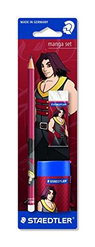 Staedtler 131 SBKML2 Manga Sonderedition Set, Motiv Crimson, Bleistift, Radierer und Doppelspitzdose, auf Blisterkarte