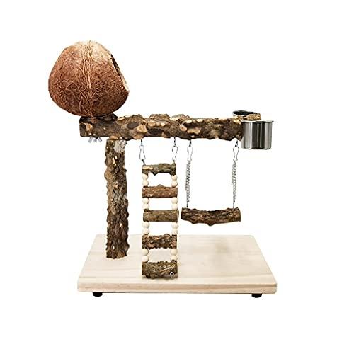 Juguetes para pájaros Playstand de loro con nido de coco, pájaro patio de pájaro Percha de pendiente columpio con acero inoxidable Copa de comida Ejercicio Jugando juguete para pájaros pequeños Conure