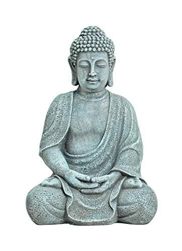 WOMA Deko Buddha Figur Sitzend aus Wetterfestem Magnesia - 30cm hoch - Dekoration für Haus, Wohnung & Garten - Skulptur für Innen und Außen - Grau