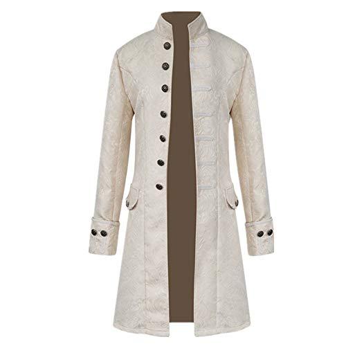 YJNH Herren Jacke Frack Steampunk Gothic Gehrock Uniform Cosplay Kostüm Smoking Mantel Retro Viktorianischen Langer Button Uniformkleid Mittelalter Kostüm S