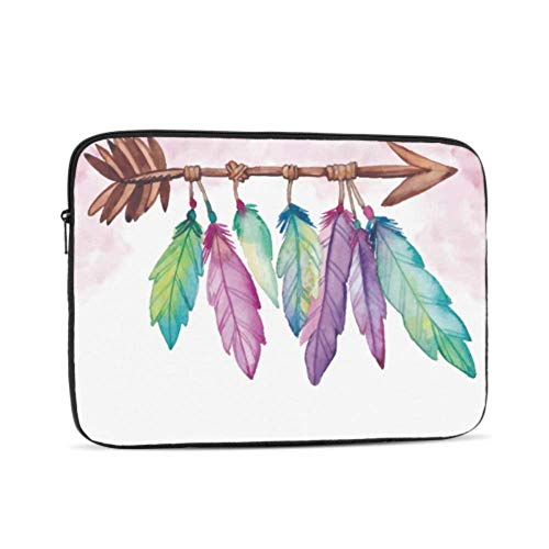 Mac Book Pro Accessories Boho with Feathers in Watercolor Style 13inch MacBook Air Case Multi-Color & Size Choices 10/12/13/15/17 Inch Computer Tablet Briefcase Carrying Bag