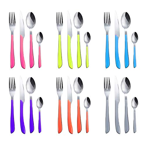 DOZZZ 24PCS Colored Flatware Set Stainless Steel Silverware Cutlery Utensil with Colorful Handles for Home Kitchen Hotel Restaurant Service for 6 Dishwasher Safe