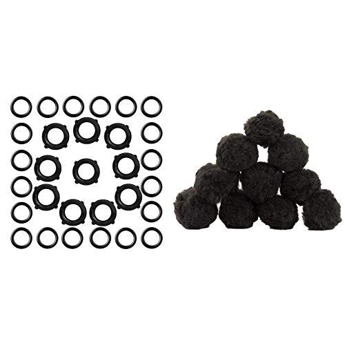 Cuasting 30 arandelas de manguera de jardín, juntas de goma y 1 bolsa, bola de filtro de arena negra, 700 g