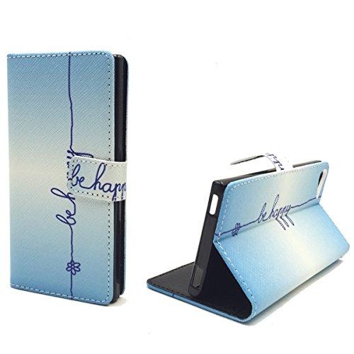 König Design Handyhülle Kompatibel mit Wiko Fever 4G Handytasche Schutzhülle Tasche Flip Hülle mit Kreditkartenfächern - Be Happy Blau