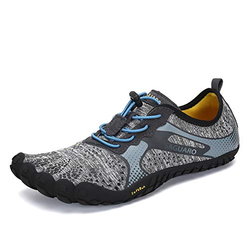 Mens Womens Barefoot Gym Walking Trail Running Shoes Beach Hiking Wide Toe Box Water Shoes Aqua Sports Pool Surf Waterfall Climbing Quick Dry Grey