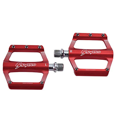 WSDSB Mountain Bike Pedals, 9/16' Universal Lightweight Aluminum Bicycle Platform Flat Pedals with 10 Anti-Skid Pins for Road Mountain BMX MTB