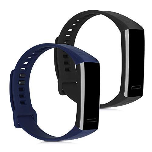 kwmobile 2X Pulsera Compatible con Huawei Band 2 / Band 2 Pro - Brazalete de Silicona Negro/Azul Oscuro sin Fitness Tracker
